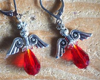 Red angel earrings, silver lever back drop earrings, Christmas earrings.
