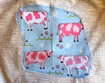 Back to school kids art smock, long sleeve waterproof front craft apron. Fits age 5 to 8. Pink cows.