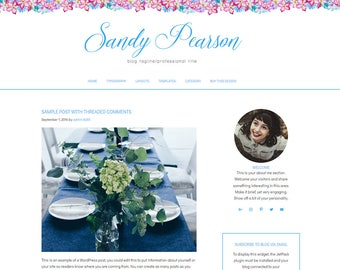 WordPress Blog Theme - Blog Design and Installation - WordPress Theme - WordPress Blog Theme - WordPress Template - Sandy