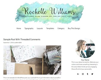 Blog Design WordPress Blog Theme - Watercolor WordPress Design - Blog Design and Installation - WordPress Template - Rochelle - WCPSD 5