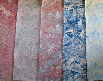 5  fogli /  cm 50 X 70   Italy   hand  marbled paper, carta marmorizzata, marmorpapier,  bookbinding, legatoria,   - A030