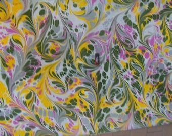marbling Cotton paper Amatruda Amalfi SIGNED carta di cotone marmorizzata cm 70 x 100  273 X 39  dipinto a mano -FIRMATO - P016