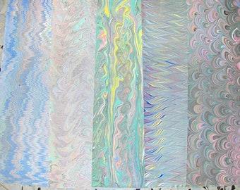 5 hand marbled paper, Italy papel marmolado,  cm 50 X 70 , papier  marbrè,  ebru - A014