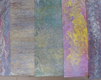 5  Italy  hand  marbled paper, carta marmorizzata,  cm 50 X 70 , bookbinding, legatoria,   - A032