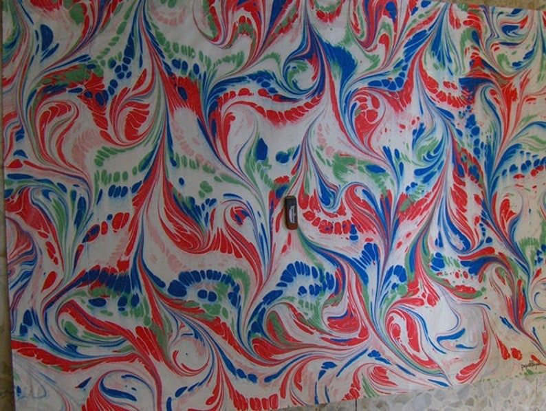 Italy   hand  marbled paper paintingSIGNED  dipinto carta image 1
