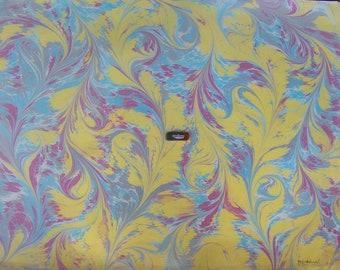 """marbling Carta di cotone Amatruda Amalfi SIGNED ,carta di cotone marmorizzata, cm 70 x 100 , 27,3"""" X 39"""" , dipinto a mano - FIRMATO - P017"""