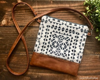 111794928a308b Cross Body - Hip Bag - Messenger Sling Bag - Aztec Tile with Vegan Leather