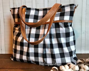 Monterey Large Diaper Bag - with Vegan Leather - In Black and White Buffalo Plaid - or Custom Design Your Own