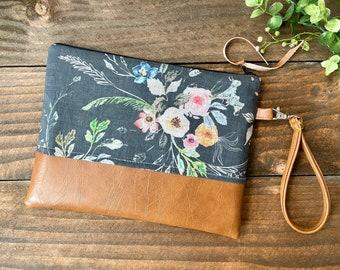 Grab N Go Wristlet Clutch - La Boheme Floral with Vegan Leather