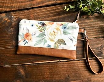 Boho Autumn with Vegan Leather - Zippered Wristlet Clutch /  Bridesmaid Gift