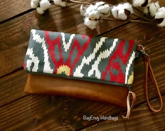 Fold Over Clutch - Sherpa Ikat with Vegan Leather - Detachable Wristlet