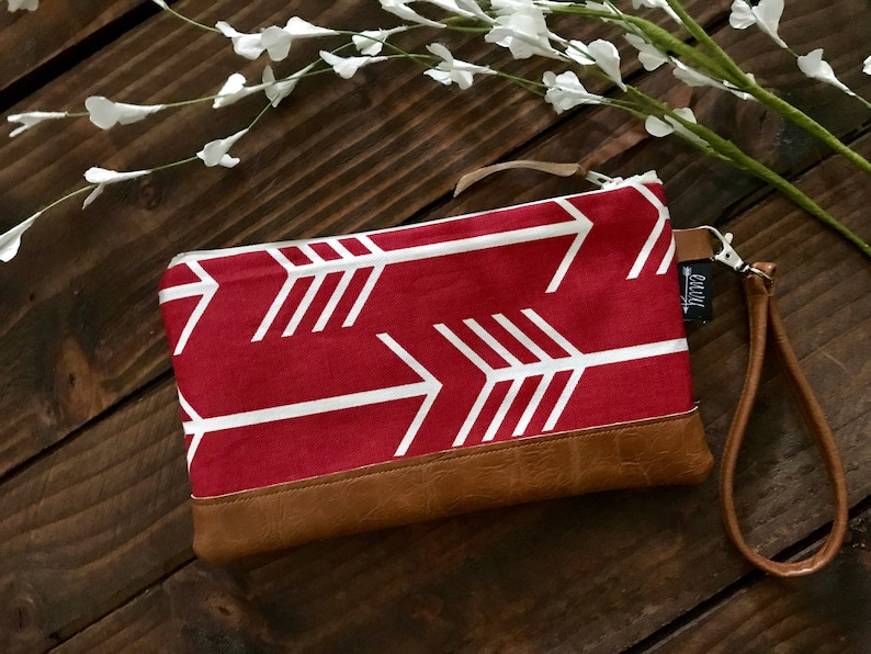 Red Arrows with Vegan Leather Zippered Wristlet Clutch   Bridesmaid Gift