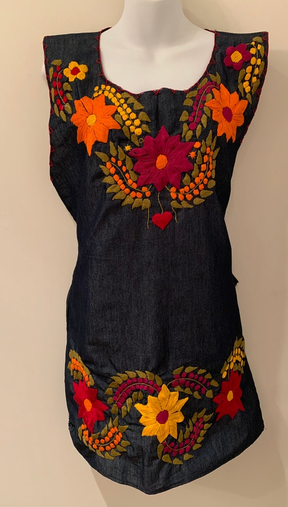 Vintage dress Oaxacan Mexican denim Embroidered tu
