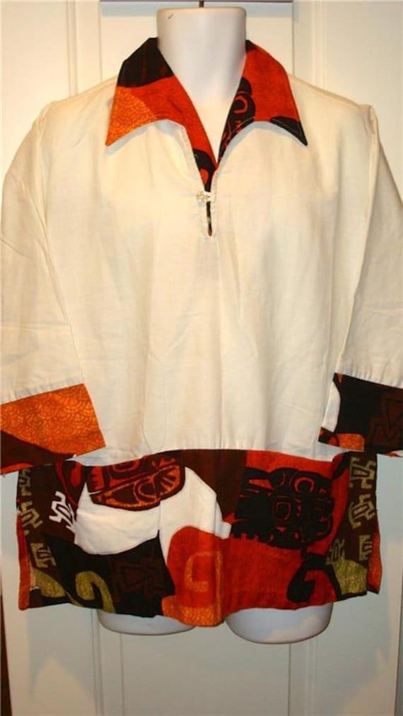Vintage PARADISE HAWAII shirt tunic Hawaiian Barkc