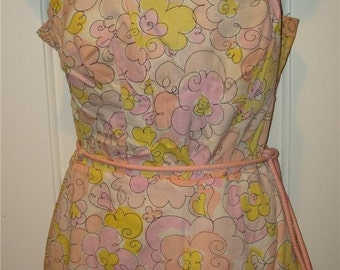 Vintage 60's COLE OF CALIFORNIA bathingsuit swim suit skirt bra mod romper belt