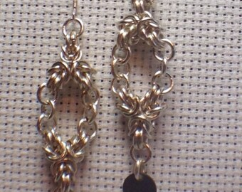Chainmaille Earrings- Byzantine Diamond Dangles