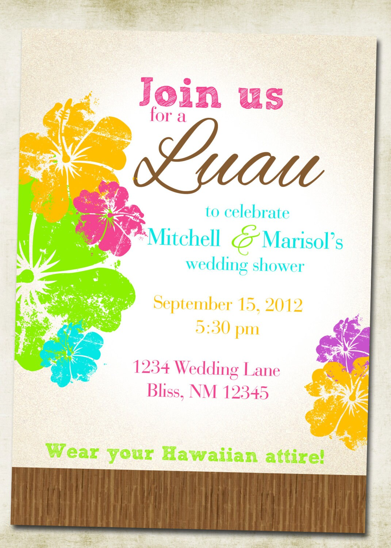 Luau Hawaiian Themed Invitation Etsy