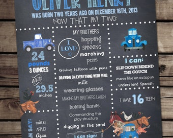 Little Blue Truck Chalkboard Poster