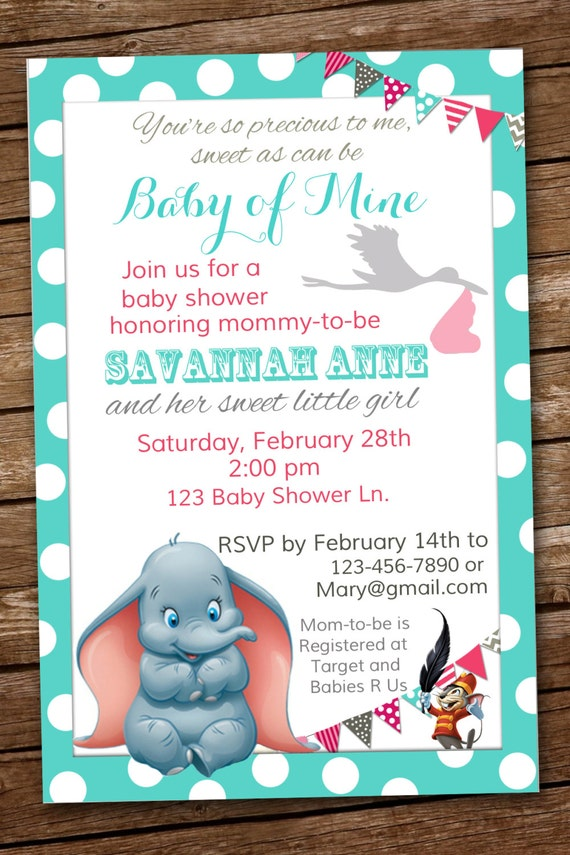 Dumbo Baby Shower Invitation Baby of Mine | Etsy