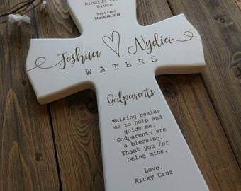 Personalized Godparents Gift, Baby godparent Dedication Gift, Personalized Baptism Gift, Newborn Gift, gift for Godparents, Cross,