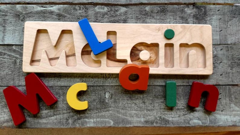 Child's name puzzle personalized name puzzle christmas Primary Colors