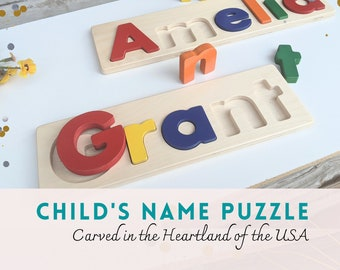 Child's name puzzle gift, personalized name puzzle, Christmas gift for toddler, Pre-K learning, grand children gift,