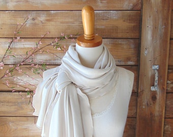 Antique Pearl Jersey Scarf, Ruffled Jersey Scarf, Natural Beige Spring Scarf, Summer Scarf, Neutral Scarf, Gift Idea, Fashion Accessories