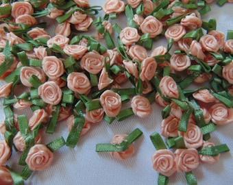 10 PK Small Mini Satin Ribbon Rose Buds Flowers Embellishment Scrapbook 1.5cm UK