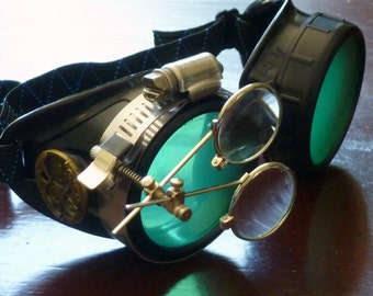 Steampunk  goggles glasses Time Travel Crazy Scientist's Oculo-Vision Tool welding cyber punk biker gothic rave-owp