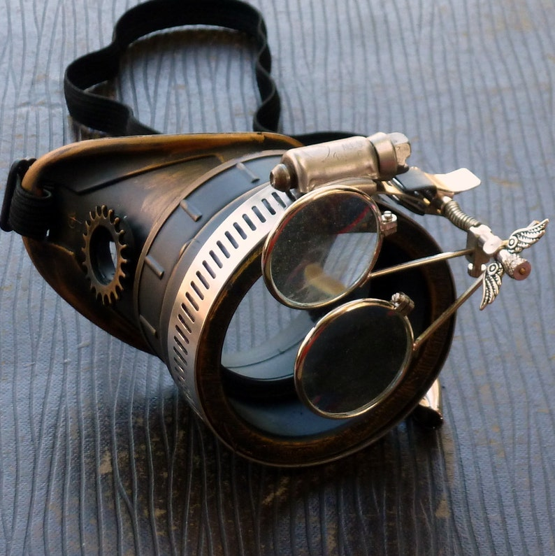 Steampunk goggles monocle eyepatch costume biker glasses clear image 0