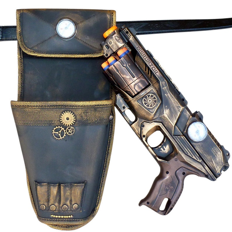 Steampunk Elite Disruptor toy Gun HOLSTER BELT Zombie walking man Nerf soft  dart Vampire Victorian cosplay Limited