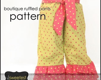 Ruffle Pants Pattern /Tutorial - PDF Printable download - Sizes 6 months - 4T