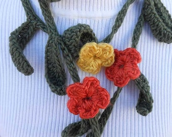 Crochet and Knit Garland Scarf Necklace or Neckwarmer with Yellow & Oranje Flowers, Light Green Leaves.