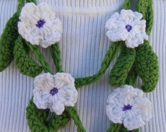 Crochet and Knit Garland Scarf Necklace or Neckwarmer with White Flowers, Light Green Leaves.
