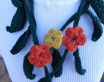 Crochet and Knit Garland Scarf Necklace or Neckwarmer with Yellow & Oranje Flowers, Dark Green Leaves .