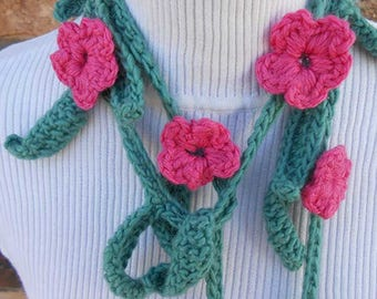 Crochet and Knit Garland Scarf Necklace or Neckwarmer with Pink Flowers, Light Green Leaves.