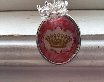 Crown keychain -flower Keychain -Two sided keychain