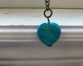Turquoise Love heart zipper pull - turquoise Love purse dangle