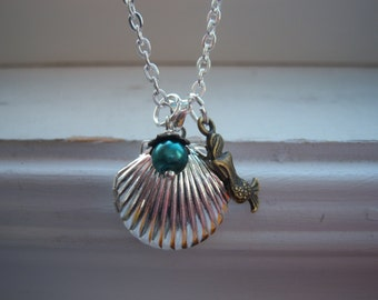 Mermaid Locket Necklace -Mermaid Necklace -Seashell Locket -Seashell Locket Necklace -Shell Necklace-Under The Sea Necklace-With Free Gift