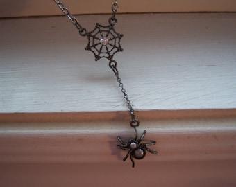 Spider Necklace - Spider Web Necklace - Black Widow Necklace - Goth Necklace - Halloween Necklace - Free Gift