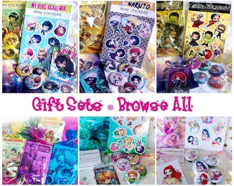 Naruto Anime Gift Set Buttons Keychain Stickers Bundle