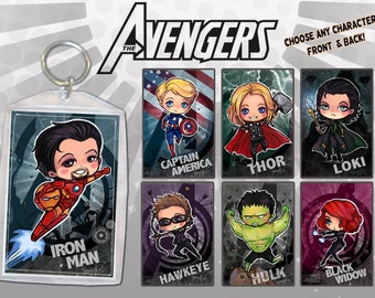 Comic Heroes Anime Keychain Double-Sided