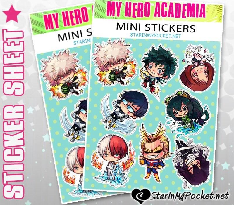 Bnha Anime Chibi Sticker Sheet Etsy