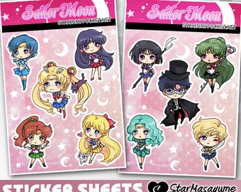 Sailor Moon Stickers - Anime Chibi Sticker Sheet