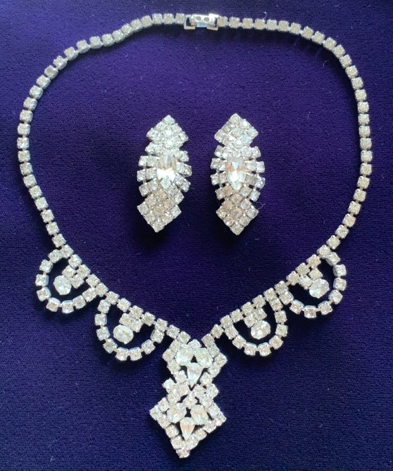 Vintage Rhinestone Necklace and Earring Parure