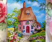 Storybook Cottage Art Print, Storybook Art, Floral Cottage Print, Pink Cottage Print, Cottage Art, Cottage Home Decor