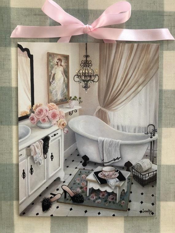 Vintage Bathroom Print By Susan Rios Clawfoot Tub Art Print Etsy