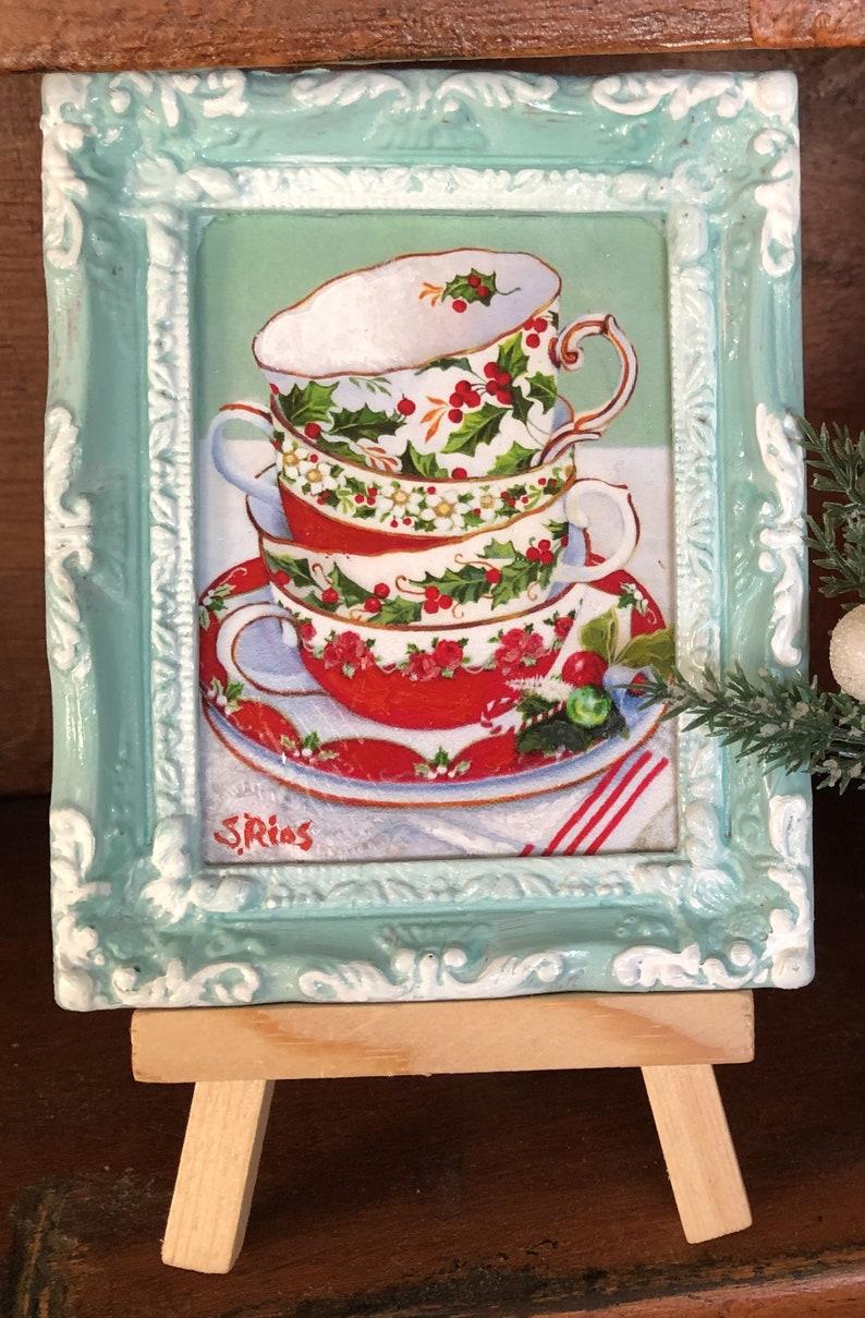 Miniature Christmas Art Miniature Christmas Painting Christmas Teacups Miniature Framed Art Holly Teacups