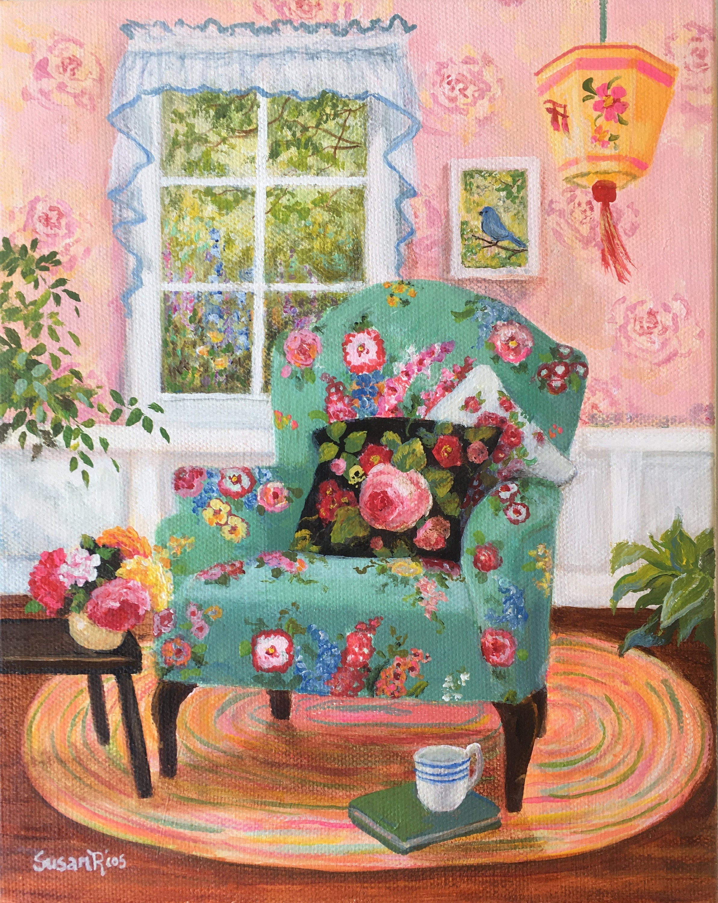 The Green Chair Floral Art Print Floral Chair Art Cottage Etsy - Decorative-floral-print-chairs-from-floral-art