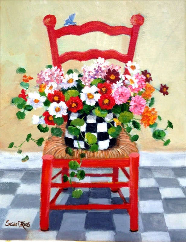 Red Chair Art Print Red Chair Floral Floral Art Print Etsy - Decorative-floral-print-chairs-from-floral-art